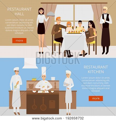 Restaurant concept vector web banner in flat style design. Family having dinner in cafe. Chef cooking in restaurant kitchen.