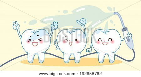 cute cartoon teeth take in the bath happily
