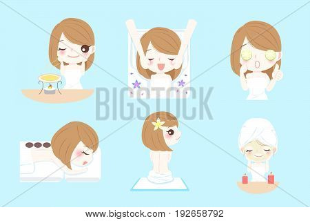 cute cartoon woman do spa on the blue background