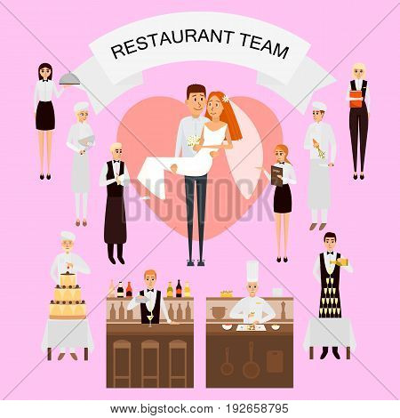 Wedding day in restaurant concept vector poster in flat style. Restaurant workers team organize wedding holiday. Big cake, champange, just married couple. Cartoon people characters.