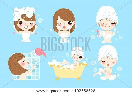 cartoon woman taking bath on the blue background