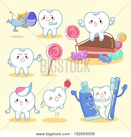 tooth with health concept on the yellow background