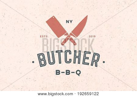 Emblem of Butchery meat shop with Knives silhouette, text The Butcher, BBQ. Logo template for meat business - farmer shop, market or design - label, banner, sticker. Vector Illustration