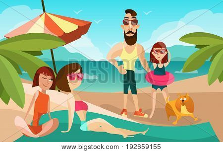 Family on a beach cartoon vector illustration. Summer vacation concept poster in cartoon style. People characters and dog.