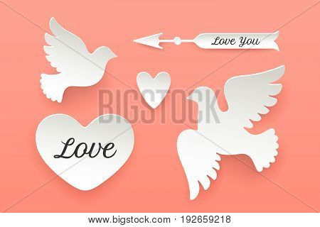 Set of paper objects, heart, pigeon, bird, arrow with shadow. White paper isolated silhouette symbols with text Love, Love You. Design elements for Valentine Day, theme of Love. Vector Illustration