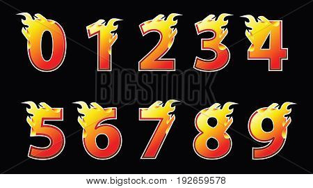 Numbers fire design set template. Vector illustration.