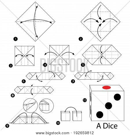 step by step instructions how to make origami A Dice