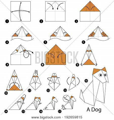 step by step instructions how to make origami A Dog