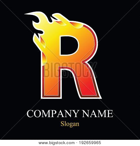 R letter fire logo design template. Vector design template elements for your application or company.