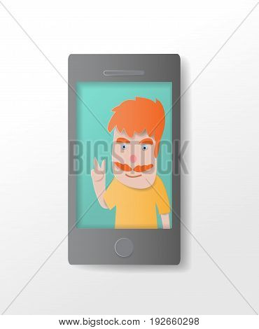 Pictures of men in mobile phone  paper art cute vector paper cut illustration