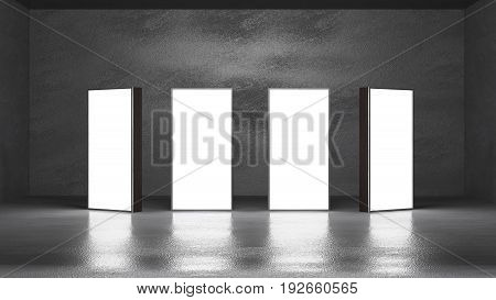 lightbox on concrete loft minimal style 3d rendering
