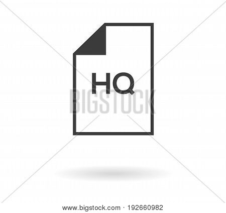 Icon Of File With Hq Text - High Quality, Black Silhouette On White