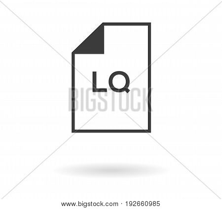 Icon Of File With Lq Text - Low Quality, Black Silhouette On White