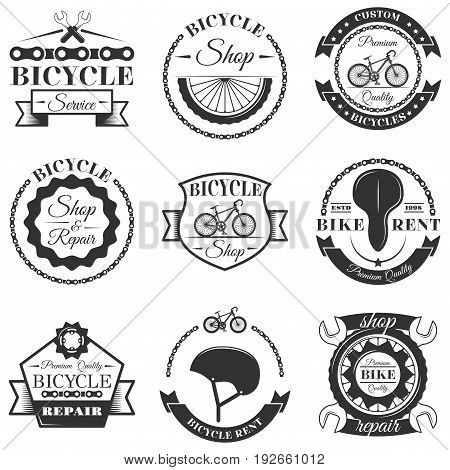 Vector set of bicycle repair shop labels and design elements in vintage black and white style. Bike logo, symbols, emblems.