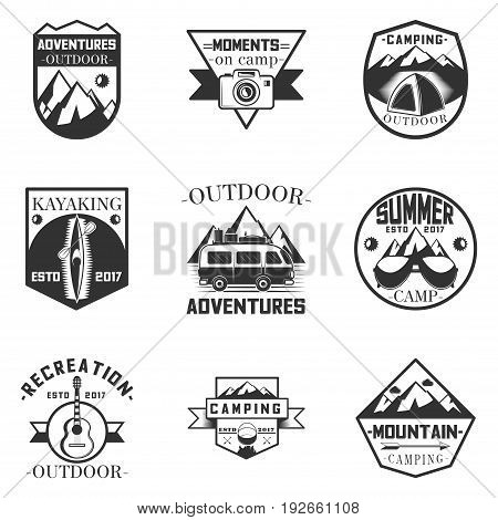 Vector set of outdoor activity, camping and expedition labels in vintage style. Design elements, icons, logo, emblems and badges isolated on white background. Camp outdoor adventure illustration.