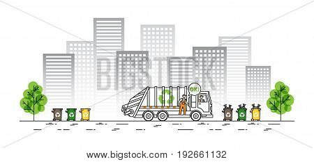 City garbage truck vector illustration. Refuse vehicle with dustman and garbage bags line art concept. Sanitation car collector vehicle with recycle sign and dustbins graphic design.