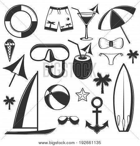 Vector set of summer season objects in vintage style. Design elements, icons isolated on white background. Summer camp, beach holidays, tropical sea vacations. - stock vector