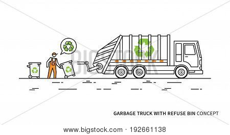 Refuse vehicle with dustbins vector illustration. Garbage truck with dustman and recycle sign graphic design.
