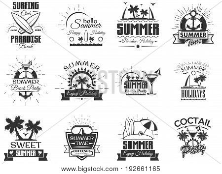 Vector set of summer season labels in vintage style. Design elements, icons, logo, emblems and badges isolated on white background. Summer camp, beach holidays, tropical sea vacations. - stock vector