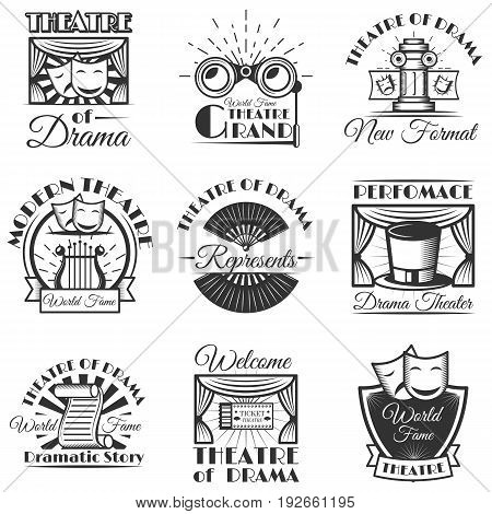 Vector set of classic theater isolated labels, logo and emblems. Black and white theater symbols and design elements. Drama masks, harp, tickets, theater drapes and stage curtains.
