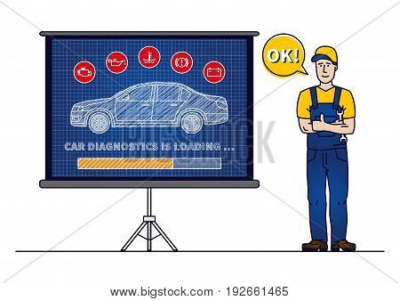 Car diagnostics loading bar with serviceman vector illustration. Car technical maintenance concept with warning signs: check engine oil pressure generator coolant level brake system.