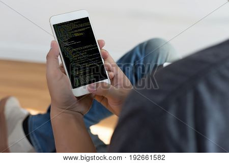 Developer Team Working Laptop Computer Mobile Application Softwareand Web Design Online Technology C