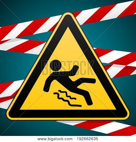 Caution - danger Beware of slippery. Safety sign. Warning triangle and crossing warning bands. Industrial design. Vector illustration.
