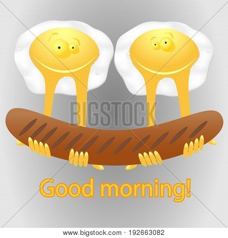 Fried eggs and sausage grilled / fried eggs smiley / vector