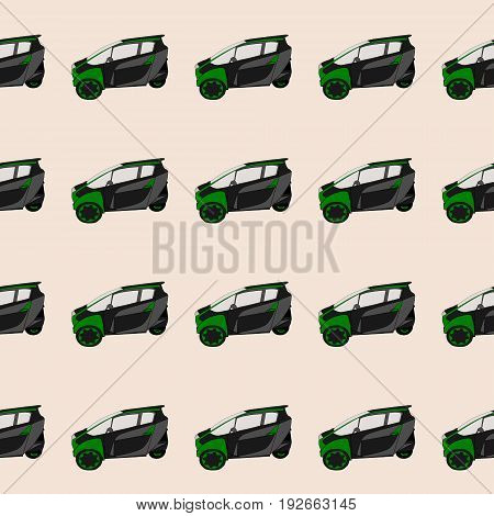 Modern generic small city car. Seamless pattern