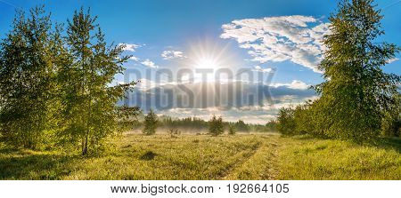 beautiful rural summer landscape with road a meadowforest and fog panorama. panoramic view of blue sky with sun clouds and sunrise. sunbeams morning