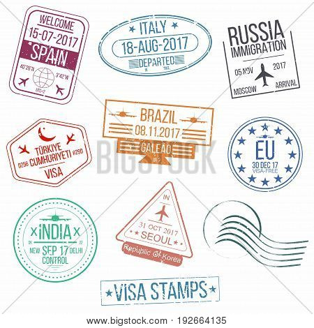 Set Of Visa Passport Stamps. International Arrivals Sign Rubber Stamps.