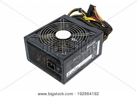 850W Power supply unit with cable and switch I O black color for full ATX Tower case PC have big fan for cool ioslated on white background