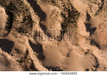 Aerial view of massive sand dunes in the arid region of the Northern Cape, South Africa
