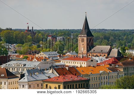 Cityscape of Tartu town. From above view by sunny day