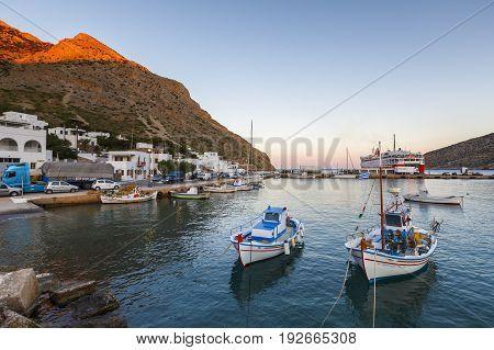 KAMARES, GREECE - MAY 20, 2017: Kamares village on Sifnos island, Greece on May 20, 2017.