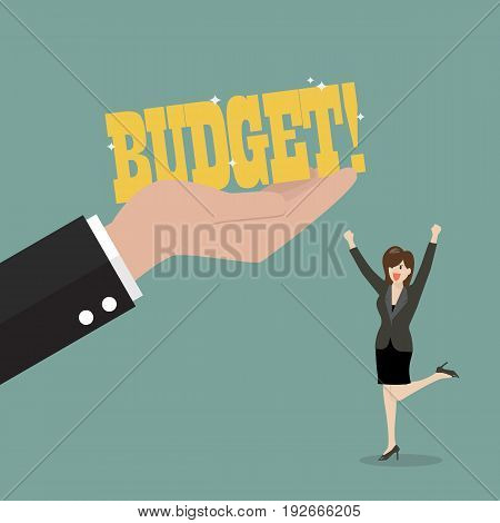 Big hand give a budget to business woman. Business concept