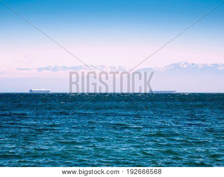 Large cargo ships in the Pacific Ocean against the mountain background