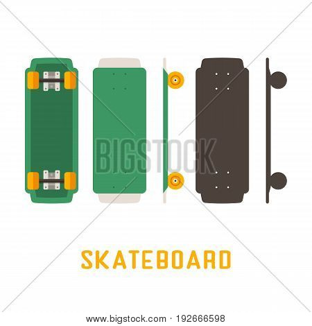 Green shortboard skateboard bottom, top and side view. Vector skateboarding deck in flat and outline design.