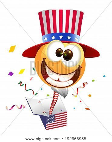 July Fourth Independence Day. Smile Uncle Sam jumps out of box. Isolated on white vector cartoon illustration