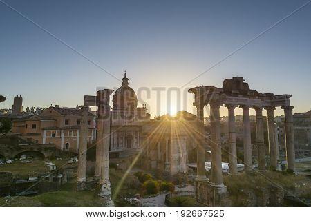 The forum romanum at dawn Rome Italy