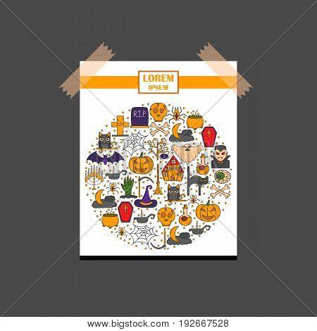 Vector Cartoon Hand Drawn Halloween Background
