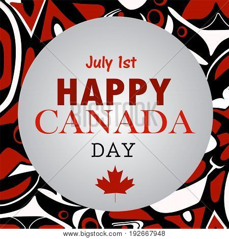 Canada day greetings with maple leaf with aboriginal pattern national day of Canada vector background