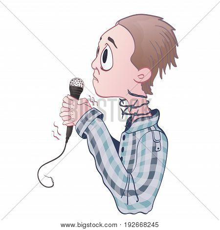 Fear of public speaking, glossophobia. Excitement and loss of voice. Young man with microphone and barbed wire on neck. Vector illustration, isolated on white background.