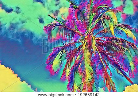 Fantastic tropical background with palm tree. Sunny day on exotic island. Beautiful tropical nature. Tropic scene with coconut palm