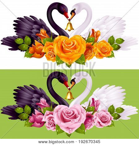 Vector Set of Swan Couple and Roses. Black Cob and White Pen hold a Golden Bell. Birds Neck and Flowers have a Heart Shape. Valentines Day Card or Wedding Invitation Isolated on Background