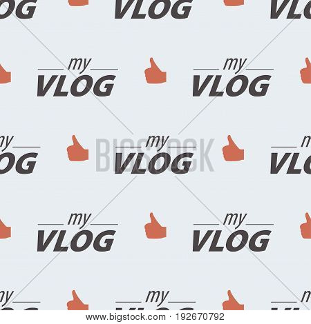 Video blog seamless pattern vlog and like