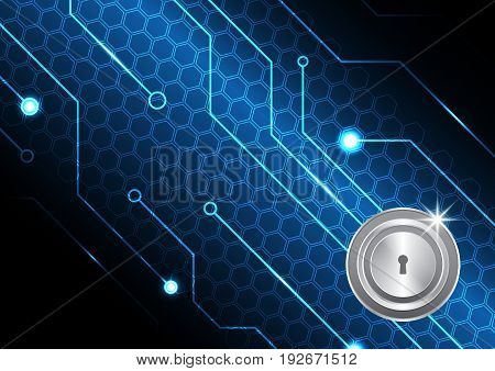 Technology Digital Future Abstract Cyber Security Circle Keyhole Lock Circuit Background