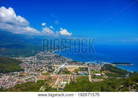 View from the mountain to the town of Kemer and the sea in Turkey.