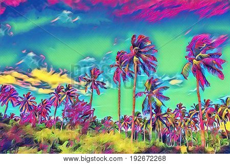Fantastic tropical landscape with palm tree. Sunny day on exotic island. Coco palm forest banner template with text place. Palm tree leaf rainbow digital illustration. Tropic scene with coconut palm