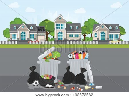 Rubbish and dirty area at the street of the village Pile of garbage various trash and waste material environmental pollution and ecology conceptual vector illustration.